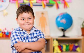 Preschool boy in classroom