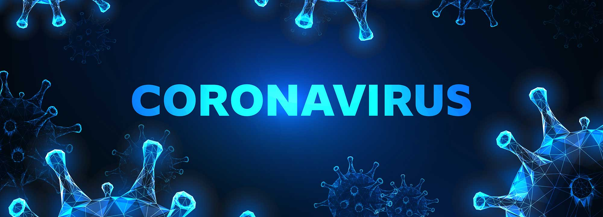 Futuristic coronavirus cells abstract background with glowing low polygonal virus cells and text on dark blue background.